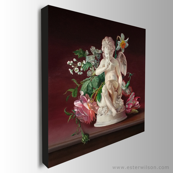 """Side view of Cupid's Garden, 24"""" x 24"""", oil painting on wood panel"""