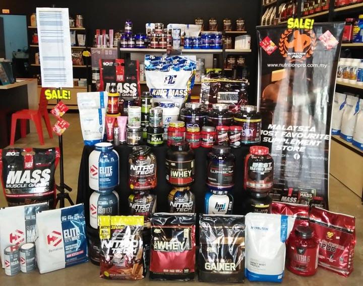 Pelbagai jenama produk Whey Protein di Nutrition Pro