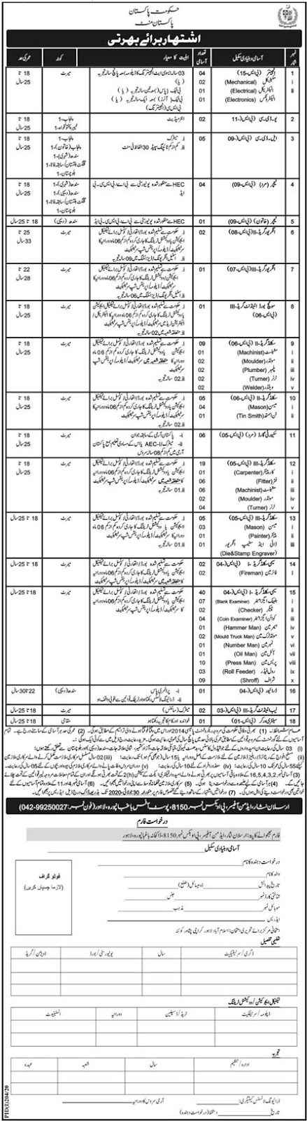 110+ Jobs in Pakistan Mint Government of Pakistan Jobs 2020 for Engineers, Teachers, Clerks, Lab Attendant & many more