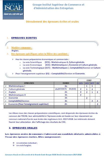 Programme des épreuves écrites ISCAE المعهد العالي للتجارة و إدارة المقاولات