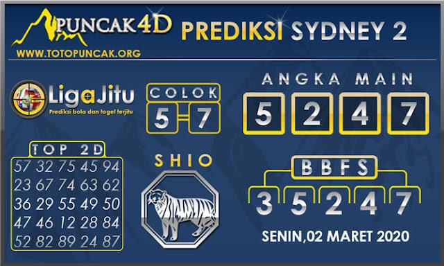 PREDIKSI TOGEL SYDNEY2 PUNCAK4D 02 MARET 2020
