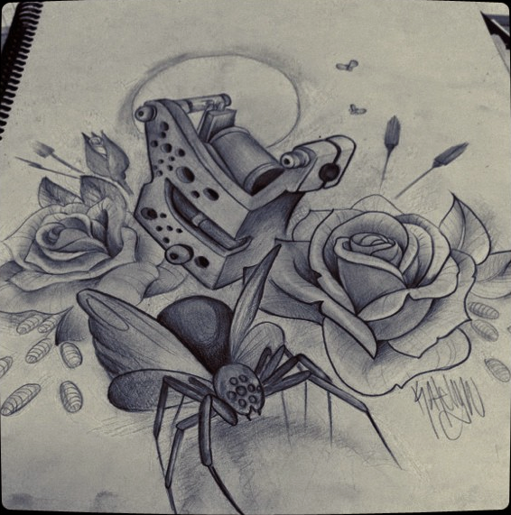 doi trandafiri un gandac si o masina tatuat