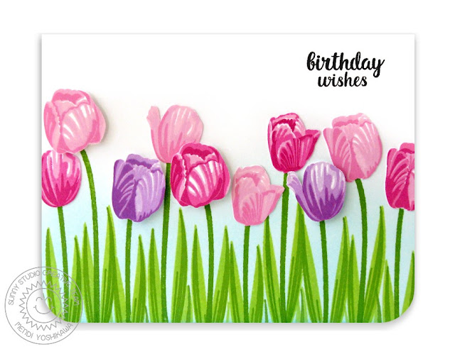 Sunny Studio Stamps: Timeless Tulips Spring Birthday Card by Mendi Yoshikawa