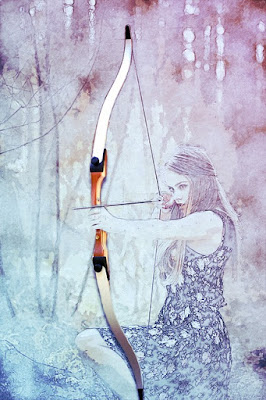 girl sitting and aiming an arrow bow in an artistic style