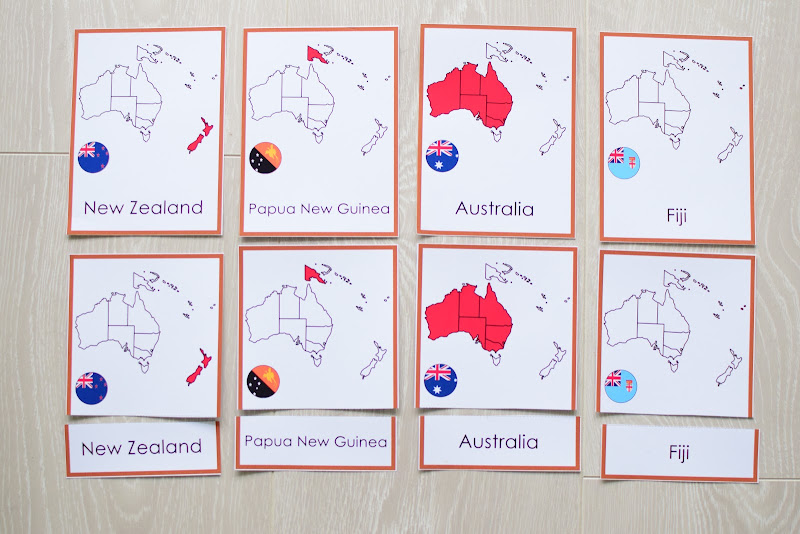 Oceania CONTINENT Study: COUNTRY MAPS 3 PART CARDS