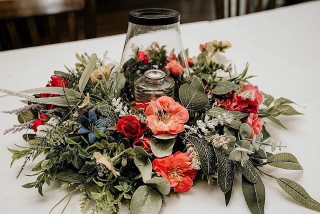 Detail shot of floral centerpiece for Reception