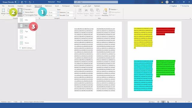 membagi 1 lembar kertas menjadi 4 bagian di Microsoft Word 2010