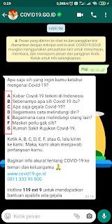Menggunakan BOT WHATSAPP COVID-19