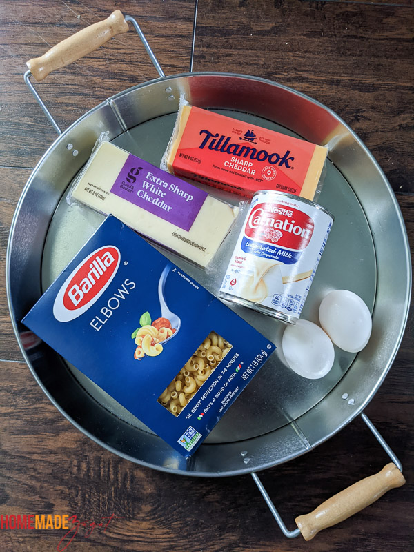 Shot of ingredients for pie. Pasta, cheese milk and eggs
