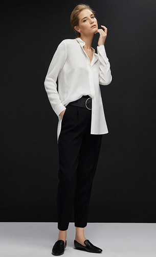 camisa blanca básica mujer Massimo Dutti