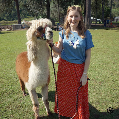 Mica Away From Blue mountview alpaca farm tee and red maxi skirt outfit