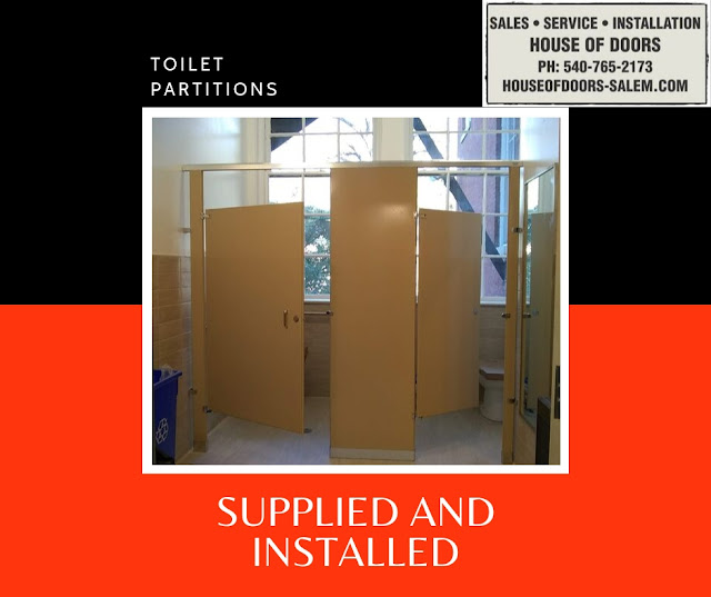 Toilet partitions sold and installed by House of Doors - Roanoke, VA