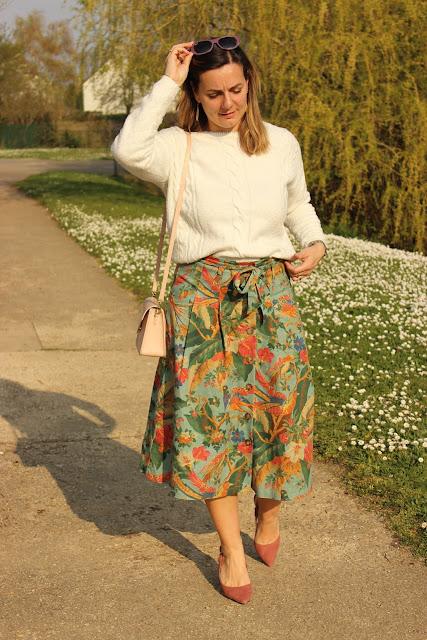look du jour, jupe sézane, escarpins rose minelli, les petites bulles de ma vie