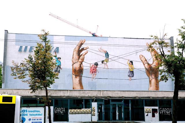 Street Art By Ernest Zacharevic For Vilnius Street Art Festival In Lithuania.