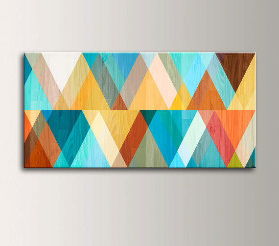 teal blue orange mid century modern mcm wall decor etsy