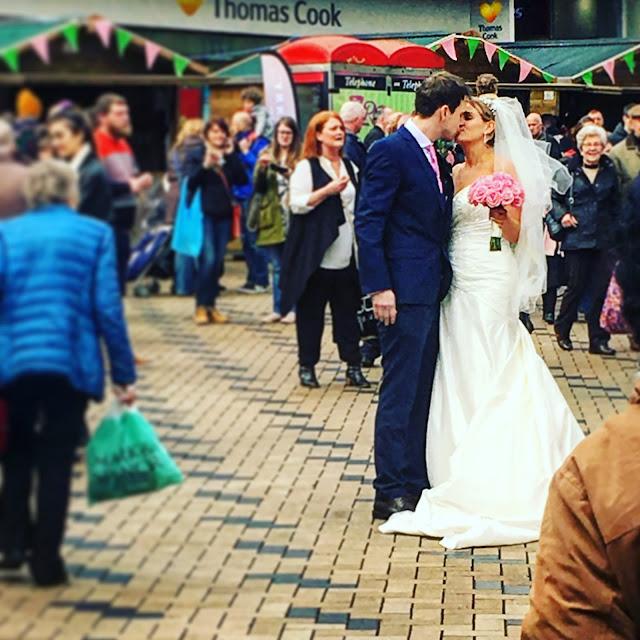 Wakefield Rhubarb Festival bridal couple