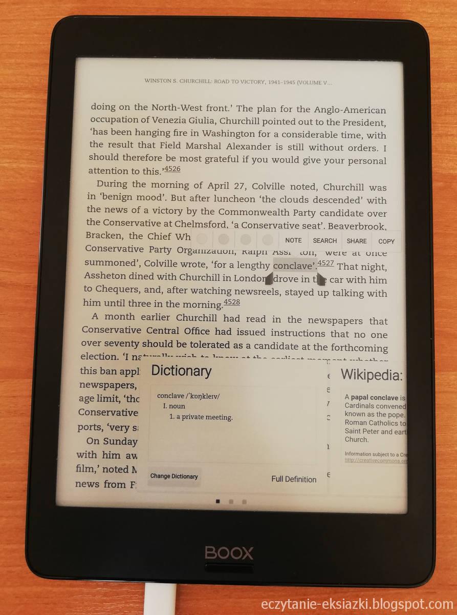 Okno słownika w aplikacji Kindle na Onyx Boox Nova