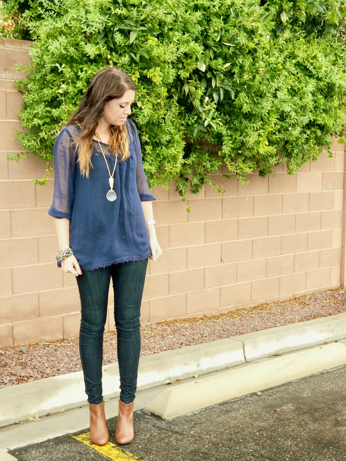 Blue Top, Skinny Jeans, Necklace