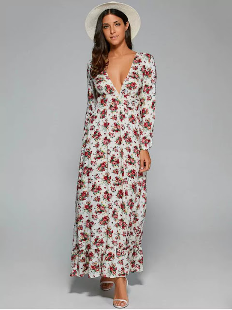 Empire Waist Maxi Floral Plunging Neckline Dress