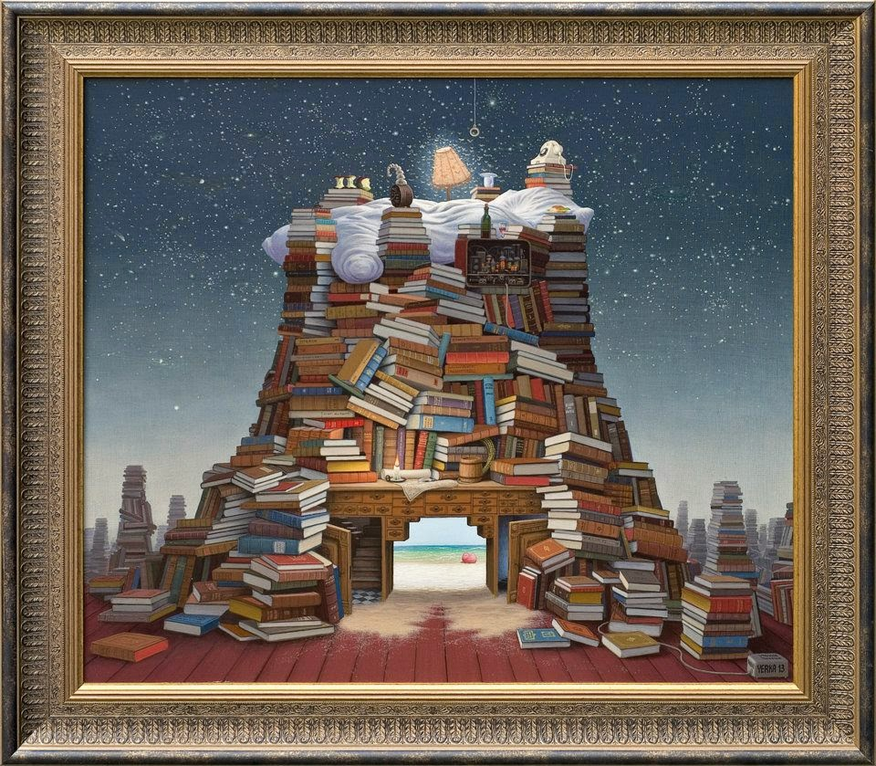 12-Night-reading-Jacek-Yerka-Surreal-Paintings-Parallel-Universes-www-designstack-co