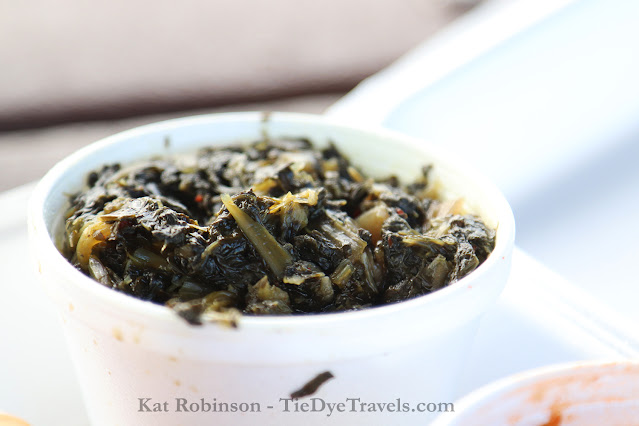 Turnip greens as a side from The Original Tom's BBQ in Horn Lake, MS