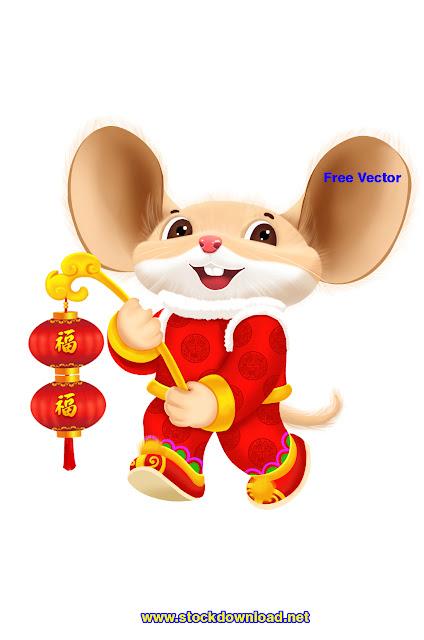 Download vector năm 2020 con chuột vàng