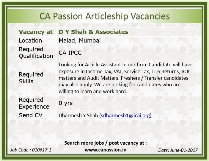 Articleship Vacancy At Malad Mumbai