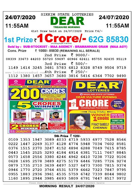 Lottery Sambad Result 24.07.2020 Dear Treasure Morning 11:55 am