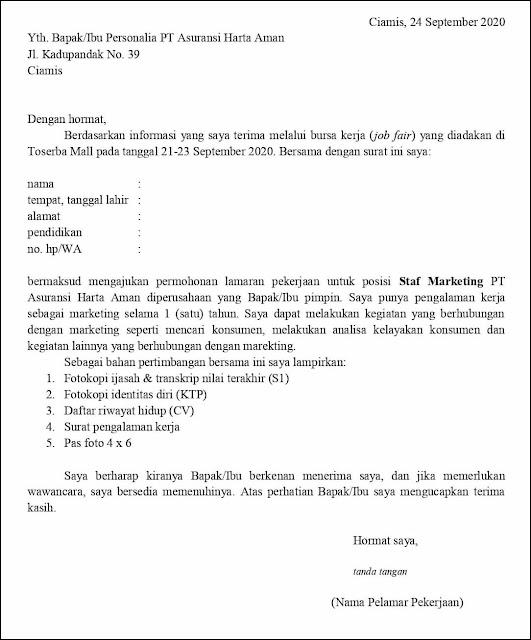 Contoh Surat Lamaran Kerja Untuk Staf Marketing (Fresh Graduate & Experienced)