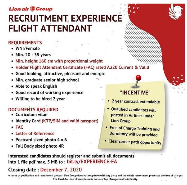 Lowongan Kerja Flight Attendant Lion Air GROUP Tingkat SMA SMK Desember 2020