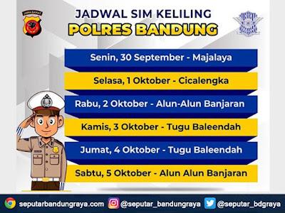 Jadwal SIM Keliling Polres Bandung Bulan Oktober 2019