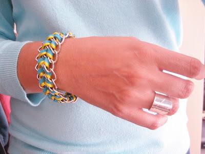 Tutorial Pulsera de triple cadena y cordón / wrapped chain bracelet DIY / Tuto bracelet à trois chaines