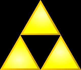 Imagen con la trifuerza. Se compone de tres triángulos equiláteros en forma de triángulo completo, uno arriba y dos abajo (en color amarillo)