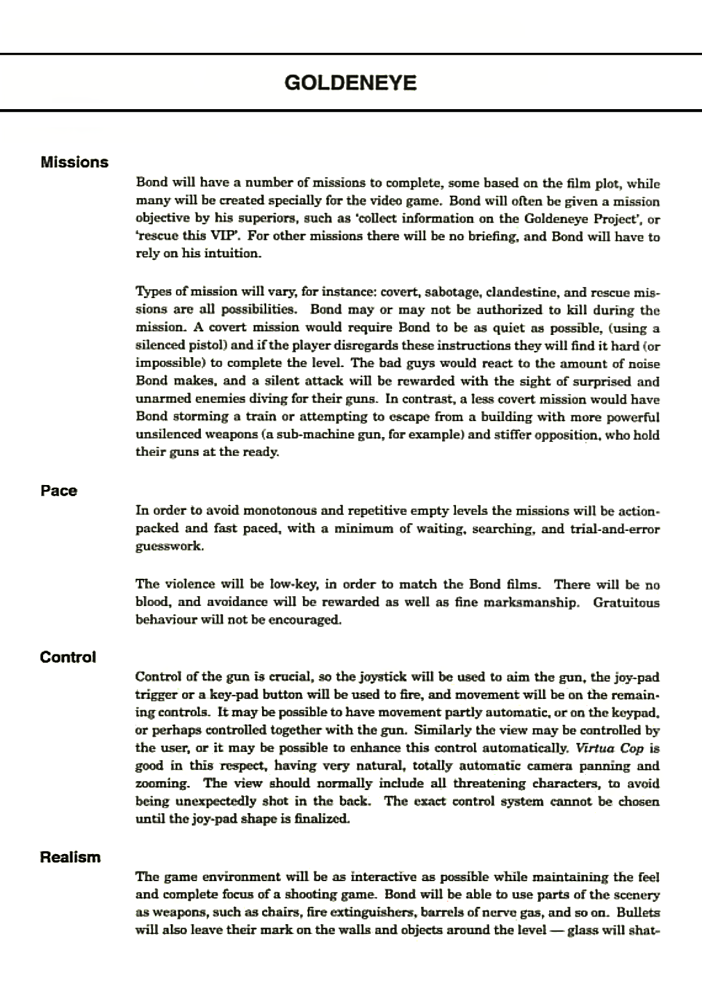 GoldenEye Decoded GoldenEye Game Design Document By Martin - Game technical design document