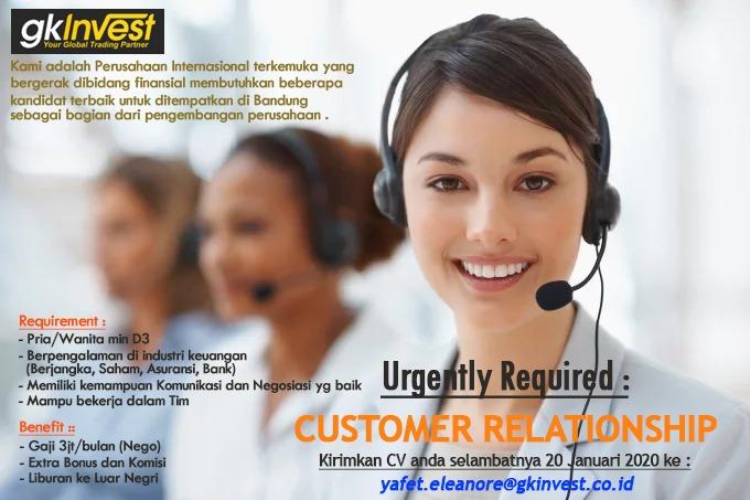 Lowongan Kerja Customer Relationship GK Invest Bandung Januari 2020