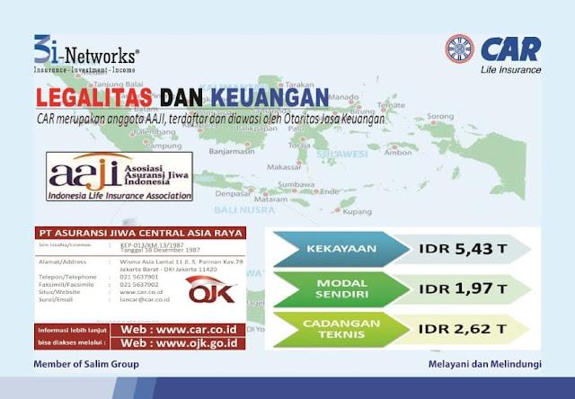 PT AJ Central Asia Raya adalah perusahaan berbadan hukum di Indonesia, berdiri sejak tahun 1975 dengan memiliki ijin usaha yang jelas sebagai member Salim Group, serta terdaftar dan diawasi oleh Otoritas Jasa Keuangan (OJK) dengan Surat keputusan izin usaha nomor : KEP-013/KM.13/1987 Tanggal 18 Desember 1987.Produk asuransi jiwa yang ditawarkan/dipasarkan adalah Produk Asuransi yang terdaftar di OJK.