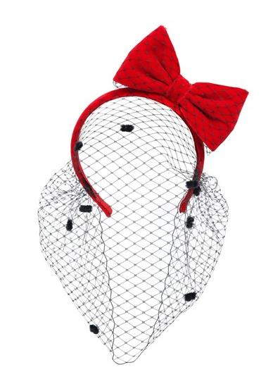 Red Valentino diadema con redecilla lazo rojo