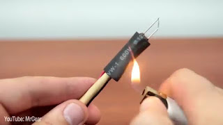 Alat Pirografi sederhan dari baterai 9volt