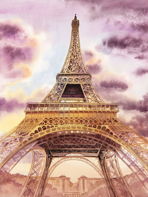 Paris France watercolour