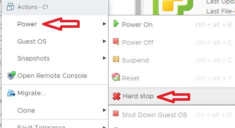 VMware: VM hard stop Virtual Center