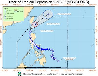 Trayectoria del tifón Vongfong, 16 de Mayo 2020