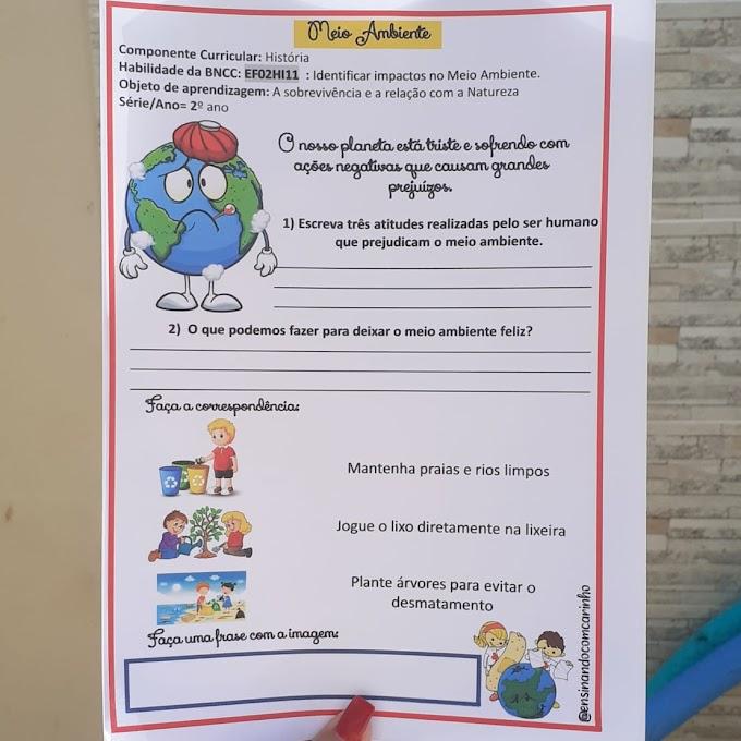 Atividade para trabalhar os impactos no meio ambiente nas turmas de alfabetização
