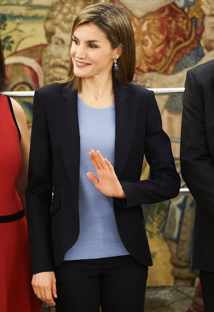Queen Letizia of Spain attends an Audience to a representation of the Spanish Association against Leukodystrophy-ELA Spain