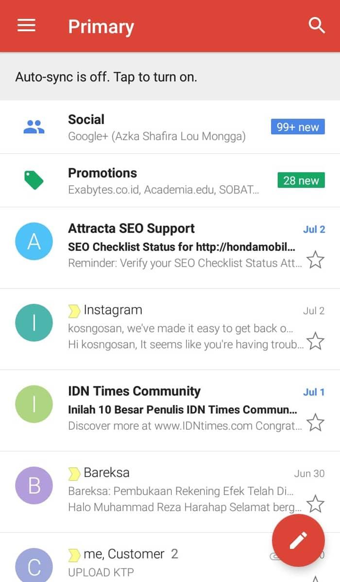 buka aplikasi gmail android