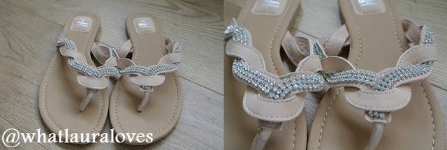 Diamante and Leather Flip Flops