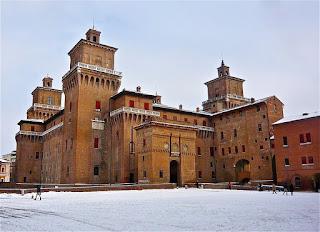 The Este Castle at Ferrara in winter snow