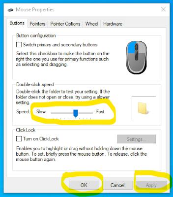 2. Pada (Mouse Properties) Tab Buttons, Arahkan Speed nya ke kanan untuk mempercepat atau agar tidak lelet..