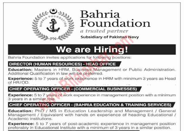 Job in Bahria Foundation Subsidiary  of Pakistan Navy