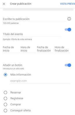 Como crear un evento en Google my Business