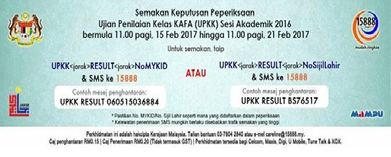 Keputusan UPKK 2017 sms